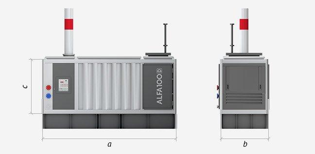 Технические характеристики мобильной котельной ALFA 100D